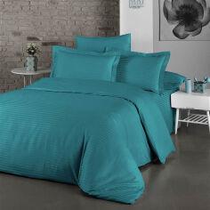 Акция на Комплект постельного белья LightHouse Exclusive Sateen Stripe Lux бирюзовый Двуспальный евро комплект от Podushka