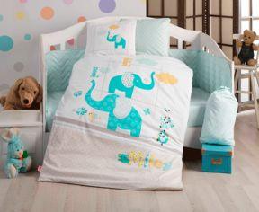 Акция на Детский комплект постельного белья Hobby Pretty бирюзовый Детский комплект от Podushka