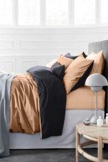 Акция на Комплект постельного белья MirSon 0165+0240 Latte Светло бежевый и Темно-серый Двуспальный комплект от Podushka