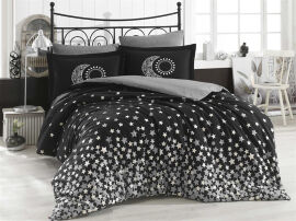 Акция на Постельное белье Hobby Poplin Stars серый Полуторный комплект от Podushka