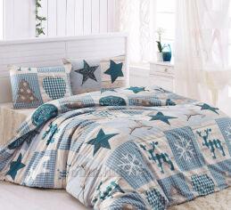 Постельное белье Lighthouse бязь-голд Stars голубое Двуспальный евро комплект от Podushka
