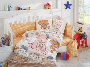 Постельное белье в кроватку Hobby Tombik желтое Детский комплект от Podushka