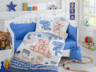 Постельное белье в кроватку Hobby Tombik голубое Детский комплект от Podushka