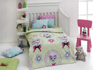 Акция на Детское постельное белье Eponj Baykus yesil Детский комплект от Podushka
