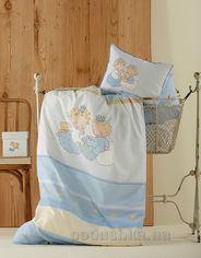 Постельное белье в кроватку Karaca Mini голубое Детский комплект от Podushka