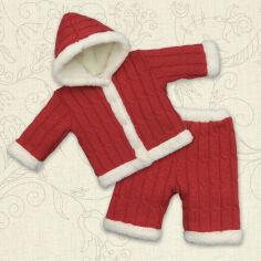 Костюм теплый для малышей Снежок Бетис вязка-махра 62 цвет красный от Podushka