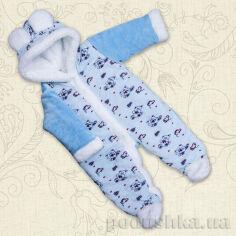 Комбинезон утепленный для малышей Ведмедик-2 Бетис велюр-махра 80 цвет голубой от Podushka