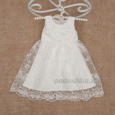 Платье для девочки Ажурное Бетис атлас-гипюр 104 цвет белый от Podushka