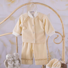 Акция на Костюм для крещения мальчика Святик-2 Бетис велюр 80 цвет белый от Podushka