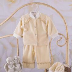 Акция на Костюм для крещения мальчика Святик-2 Бетис велюр 74 цвет молочный от Podushka