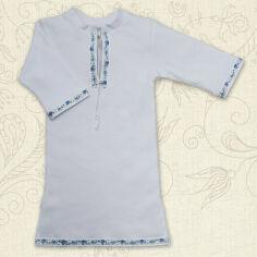 Сорочка для крещения малыша Кристиан-2 Бетис интерлок 86 цвет белый с голубым от Podushka
