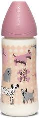 Бутылочка для кормления Suavinex Истории щенков круглая соска, быстрый поток Розовая 360 мл (304828) (8426420051446) от Rozetka