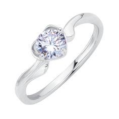 Серебряное кольцо Зоряна с кастом в форме сердца и фианитом 000116350 17 размера от Zlato