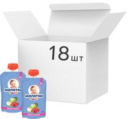 Упаковка детского пюре Малятко Яблоко-малина в пауче 90 г х 18 шт (4820123511568_4820123511605) от Rozetka
