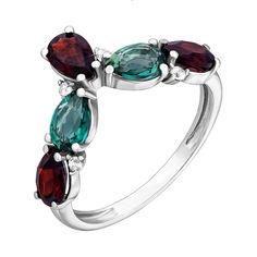 Серебряное кольцо Яра с гранатом, зеленым кварцем и фианитами 000063339 17 размера от Zlato