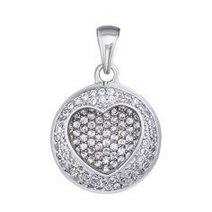 Серебряный кулон Сердце с белыми фианитами 000113834 от Zlato