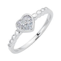 Серебряное кольцо Ода сердца с фианитами 000116342 17 размера от Zlato