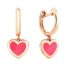 Серьги-подвески из красного золота с розовой эмалью 000126248 000126248 от Zlato