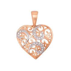 Акция на Золотой кулон Сердце в узорах в комбинированном цвете с фианитами 000126469 от Zlato