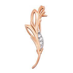 Золотая брошь Веточка в красном цвете с фианитами 000129626 от Zlato