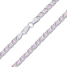 Серебряный браслет на ногу Мирена с розовым цирконием 000044841 б/р размера от Zlato