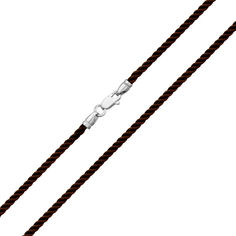 Темно-коричневый крученый шелковый шнурок Милан с серебряным замком, 2мм 000078902 50 размера от Zlato