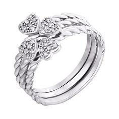Серебряное тройное кольцо Квартет с сердечками и фианитами 000101942 17.5 размера от Zlato