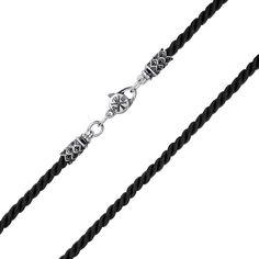 Крученый шелковый шнурок Милидин в черном цвете с узорным серебряным замком, 2,5мм 000113830 50 размера от Zlato
