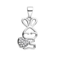Серебряный кулон Влюбленный заяц с фианитами 000117937 от Zlato