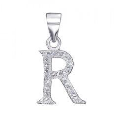Серебряная подвеска Алфавит буква R с фианитами 000126986 от Zlato