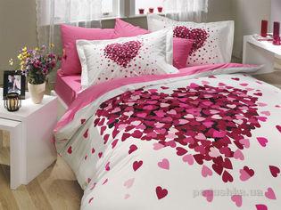 Акция на Постельное белье Hobby Poplin Juana розовое Двуспальный евро комплект от Podushka