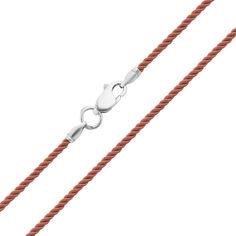 Коричневый крученый шелковый шнурок Милан с серебряным замком, 2мм 000078913 35 размера от Zlato