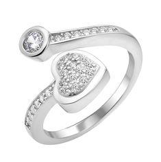 Серебряное кольцо с разомкнутой шинкой Влюбленное сердце с фианитами 000112714 16.5 размера от Zlato