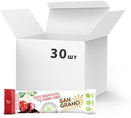 """Упаковка батончиков San Grano с органическими цельнозерновыми овсяными хлопьями """"Вишня-конде"""" с черной глазурью 25 г х 30 шт (4820182202087) от Rozetka"""