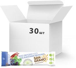 """Упаковка батончиков San Grano с органическими цельнозерновыми овсяными хлопьями """"Смородина-ревень"""" с белой глазурью 25 г х 30 шт (4820182202094) от Rozetka"""