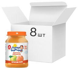 Упаковка пюре Агуша Яблочно-персиковое с 5 месяцев 8х190 г (4823063113403-8) от Rozetka
