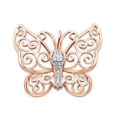Золотая брошь Ажурная бабочка в комбинированном цвете с фианитами 000124331 от Zlato