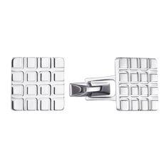 Серебряные запонки Квадраты с геометрическим рельефным орнаментом 000125643 от Zlato