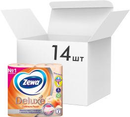 Упаковка туалетной бумаги Zewa Deluxe трехслойной аромат Персик 14 шт по 4 рулона (7322540059793) от Rozetka