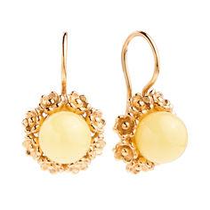 Позолоченные серебряные серьги Княгиня с лимонным янтарем и крапанами в виде цветов 000118947 от Zlato