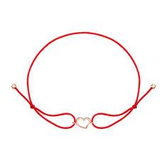 Шелковый браслет Сила любви в красном цвете с золотым сердечком 000126893 18.5 размера от Zlato