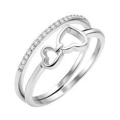 Серебряное двойное кольцо Два сердечка с фианитами 000112727 17.5 размера от Zlato