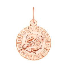 Золотой кулон Знак Зодиака Рыбы в красном цвете 000119540 от Zlato