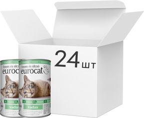Акция на Упаковка влажного корма для взрослых котов EuroCat всех пород c олениной 24 шт по 415 г (5999886848149) от Rozetka