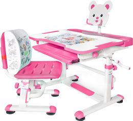 Комплект парта и стул-трансформеры Evo-kids (стул+стол+полка) BD-04 P (XL) Teddy Pink от Rozetka