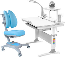 Акция на Комплект Evo-kids Evo-30 G + Y-115 KBL стол + лампа + кресло Onyx Белый/Голубой от Rozetka
