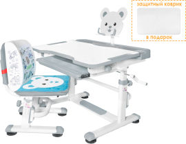 Комплект парта и стул-трансформеры Evo-kids (стул+стол+полка) BD-04 G (XL) Teddy Grey от Rozetka