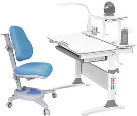 Акция на Комплект Evo-kids Evo-30 G + Y-110 KBL стол + лампа + кресло Onyx Белый/Голубой от Rozetka