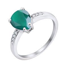 Серебряное кольцо с зеленым агатом и фианитами 000063219 000063219 18 размера от Zlato