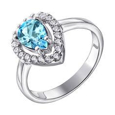 Акция на Серебряное кольцо Анабелла с голубым топазом и фианитами 000117878 17 размера от Zlato